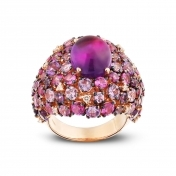 Rose gold ring, diamonds, amethysts and rose sapphires - MN7-R4N-AN110AMT