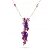 Rose gold necklace, diamonds, amethysts and rose sapphires - MN7-R4N-CO110AMT