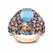 Rose gold ring, diamonds, topaz and blue sapphires - MN7-R4N-AN111TBL