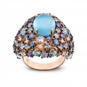 Anello oro rosa, diamanti, topazio blu london e zaffiri blu - MN7-R4N-AN111TBL