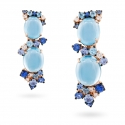 Rose gold earrings, diamonds, topaz and blue sapphires - MN7-R4N-OR111TBL