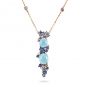 Rose gold necklace, diamonds, topaz and blue sapphires - MN7-R4N-CO111TBL