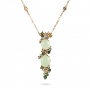 Necklace, diamonds, prehnite, green and yellow sapphires - MN7-R4N-CO112PRH