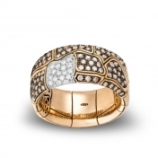Wide Band Ring Rose Gold Brow Diamonds - MBS-R4N-AN4893F