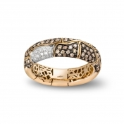 Narrow Band Ring Rose Gold Brown Diamonds - MBS-R4N-AN4892F