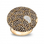 Large Plateau Ring Rose Gold Brown Diamonds - MBS-R4N-AN5177F