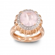 RING PINK QUARTZ, ROSE GOLD AND DIAMONDS