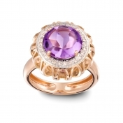 RING AMETHYST, ROSE GOLD AND DIAMONDS