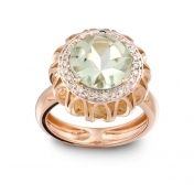 RING PRASIOLITE, ROSE GOLD AND DIAMONDS