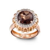 RING SMOKY QUARTZ, ROSE GOLD AND DIAMONDS