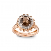RING FUME QUARTZ, DIAMONDS AND ROSE GOLD MLP-R4N-AN112QZF