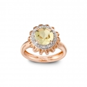 Marli Lollipop - Anello medio quarzo lemon, oro rosa e diamanti MLP-R4N-AN114QZL