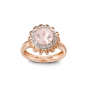 Marli Lollipop - Anello medio quarzo rosa, oro rosa e diamanti MLP-R4N-AN115QZR