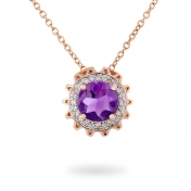 NECKLACE AMETHYST, ROSE GOLD AND DIAMONDS