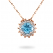 NECKLACE BLUE TOPAZ, ROSE GOLD AND DIAMONDS