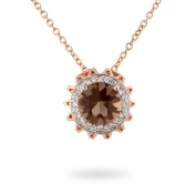 NECKLACE SMOKY QUARTZ, ROSE GOLD AND DIAMONDS