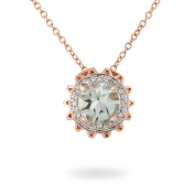 NECKLACE PRASIOLITE, ROSE GOLD AND DIAMONDS