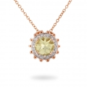 NECKLACE LEMON QUARTZ, ROSE GOLD AND DIAMONDS