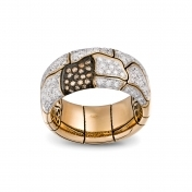 Wide Band Ring Rose Gold and Diamonds - MWS-R4N-AN4893F