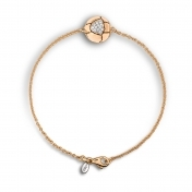Bracelet in rose gold with diamonds white sugar