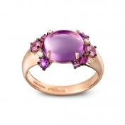Rose gold mini ring, diamonds, amethysts and rose sapphires - MN7MI-R4N-AN110AMT