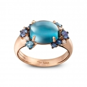 Anello mini oro rosa, diamanti, topazio blu london e zaffiri blu - MN7MI-R4N-AN111TBL