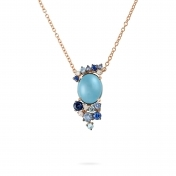 Rose gold mini necklace, diamonds, topaz and blue sapphires - MN7MI-R4N-CO111TBL