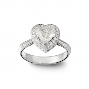 Solitaire ring white gold, heart diamond, diamonds, MMM-B-AN142DIAG/VS2