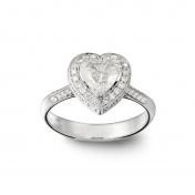 Solitaire ring white gold, heart diamond, diamonds, MMM-B-AN142DIAG/VS2