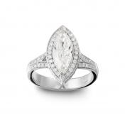 Anello solitario Oro bianco, diamante Marquise, diamanti, MMM-B-AN165DIAF/SI1