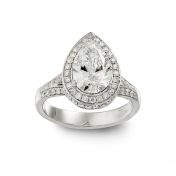 Anello solitario Oro bianco, diamante goccia, diamanti, MMM-B-AN255DIAE/SI1