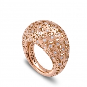 Medium rounded ring rose gold diamonds - MMN-R-AN4974F