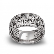 Wide band ring white gold and diamonds MMN-G-AN4975F