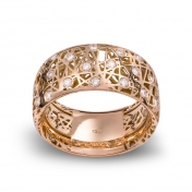 Wide band ring rose gold and diamonds - MMN-R-AN4975F