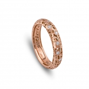 Narrow band ring rose gold and diamonds - MMN-R-AN4976F