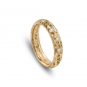 Narrow band ring yellow gols and diamonds - MMN-G-AN4976F