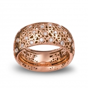 Wide band ring rose gold and diamonds MMDP-R-AN4977F