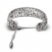 Bracelet large handcuff white gold and diamonds - MMN-B-BR4973F