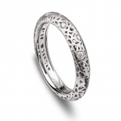 Narrow band ring white gold and diamonds MMDP-B-AN4978F