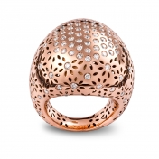 Large Rounded Ring Rose Gold Diamonds Pavè - MG-R-AN4965F