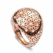 Large Rounded Ring Rose Gold Diamonds - MG-R-AN4888F