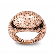Medium Rounded Ring Rose Gold Diamonds - MG-R-AN4889F