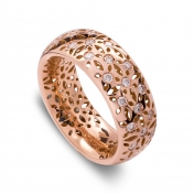 Band Ring Rose Gold Diamonds - MG-R-AN4845F