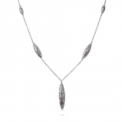 Necklace 5 Fuseaux White Gold Diamonds - MG-B-CO4336P