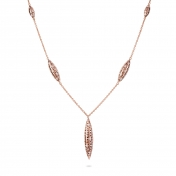 Collana cinque fuseaux in oro rosa con diamanti - MG-R-CO4336P