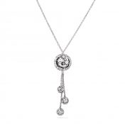 Necklace 3 Globes White Gold Diamonds - MG-B-CO4333P