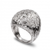 Large rounded ring white gold and diamonds - MG-B-AN4966F
