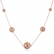 Collana 5 Sfere Oro Rosa Diamanti - MG-R-CO4329P