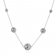 Necklace 5 Globes White Gold Diamonds - MG-B-CO4329P