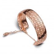 Bracciale manetta in oro rosa con diamanti - MG-R-BR4344P